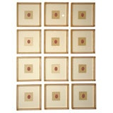 A Rare Collection of Twelve Framed Red Intaglio Seals