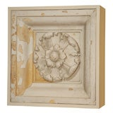 19th C. Large English Cast Plaster Ceiling Medallion Fragment