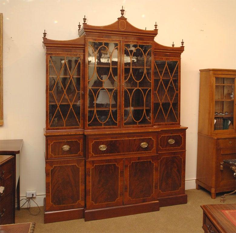 George III Period secretary breakfront bookcase, mahogany, kingwood, satinwood and ebony.  Exceptional veneers used