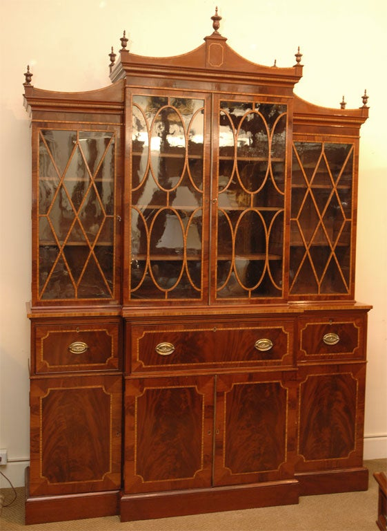 English Breakfront Secretary Bookcase For Sale