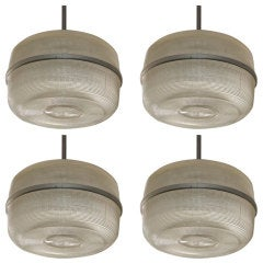 Set of 4 large molded glass industrial hanging lights