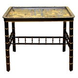Chinese Export Large Black and Gold Lacquer Tray on Stand, circa 1750