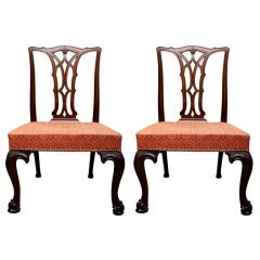 Pair antique Irish Chippendale period mahogany  chairs, c.1770