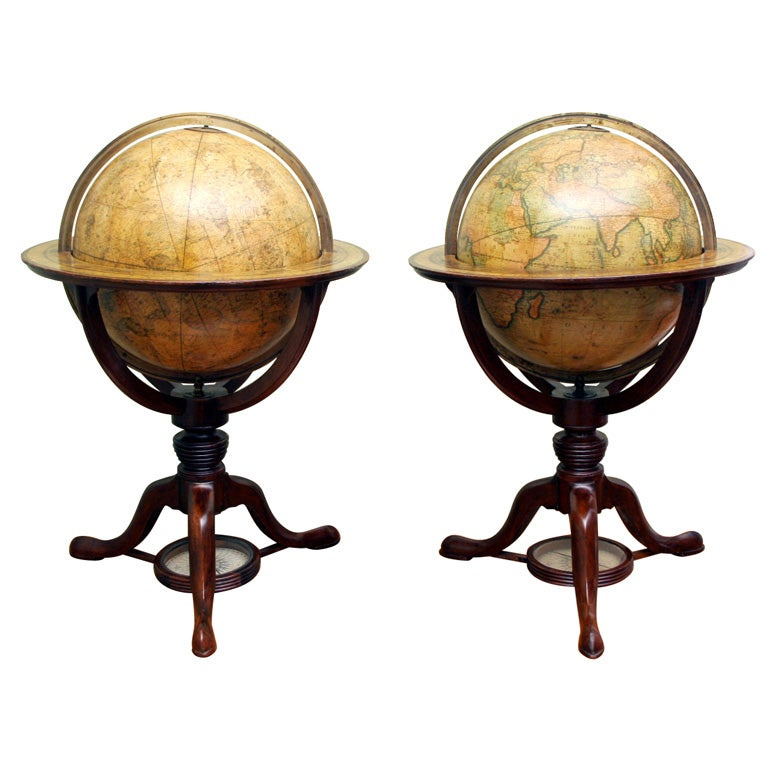 Antique Pair of Cary's Table Globes, circa 1800 and 1816 For Sale