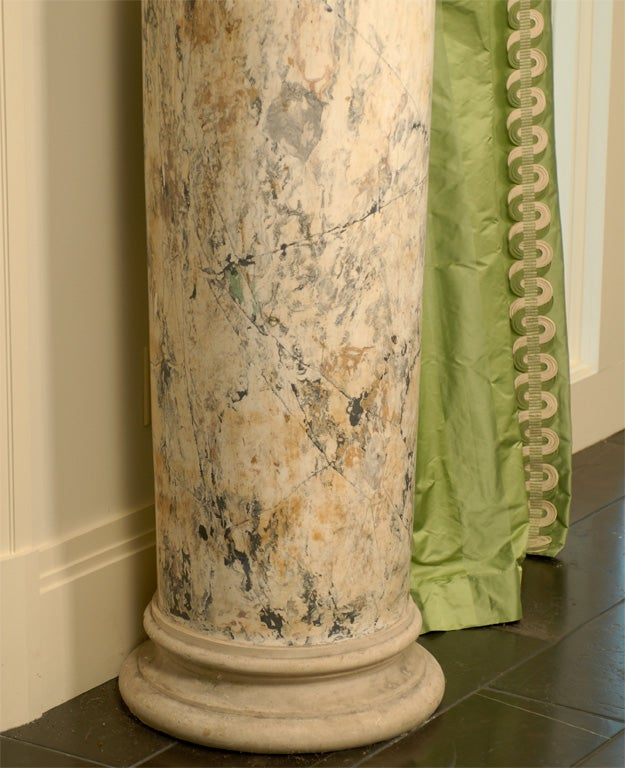 Faux Painted Columns Part - 19: 19th Century Pair Of Plaster Columns In Faux Painted Marble 3