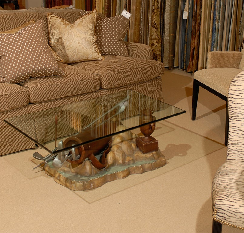 Very unique golf coffee table in plaster and glass at 1stdibs for Golf coffee table