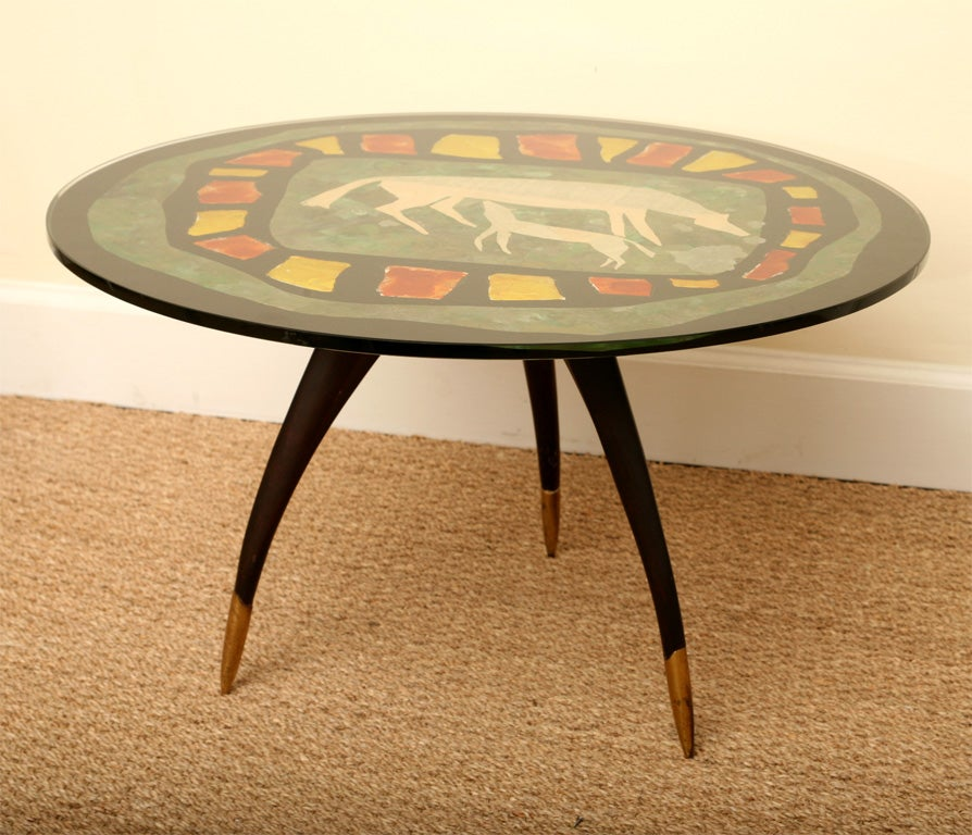 Italian Reverse Painted Glass And Tripod Side Table At 1stdibs