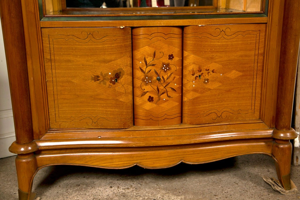 French Jules Leleu Style Satinwood Bar Cabinet For Sale 1
