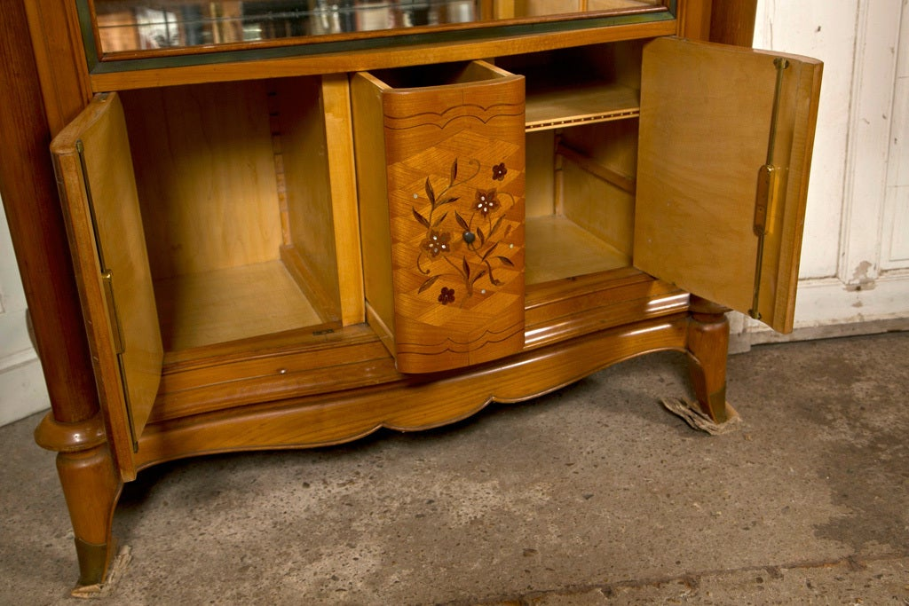 French Jules Leleu Style Satinwood Bar Cabinet For Sale 2