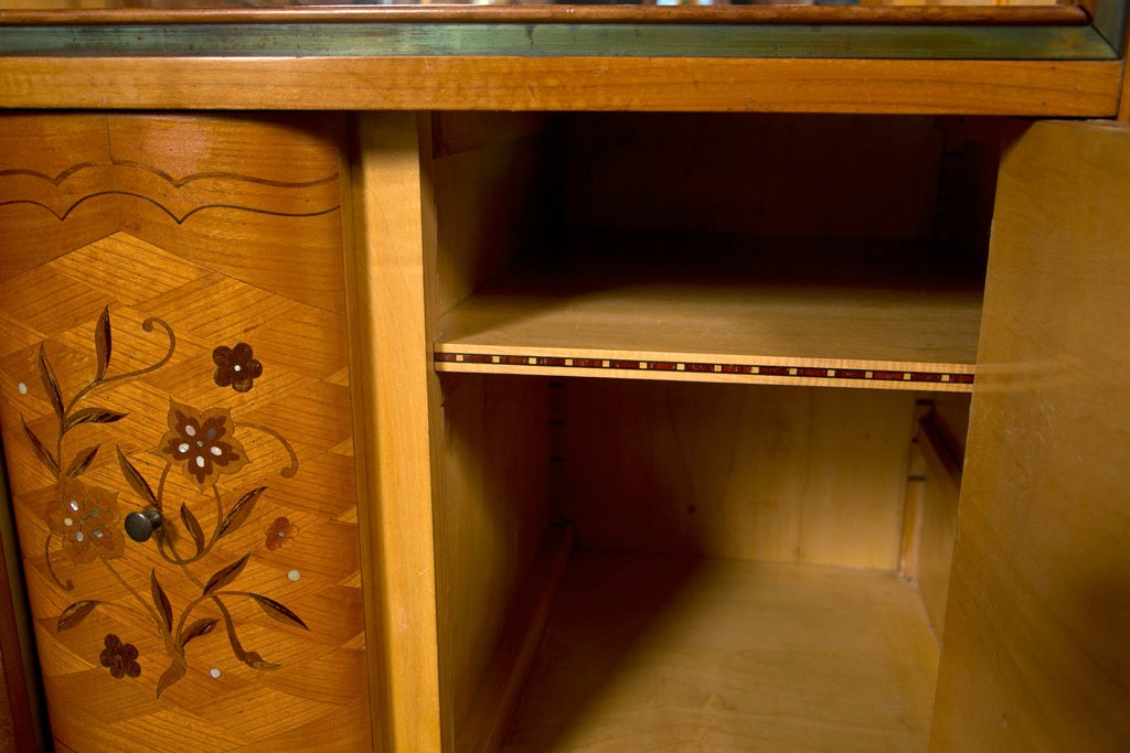 French Jules Leleu Style Satinwood Bar Cabinet For Sale 4