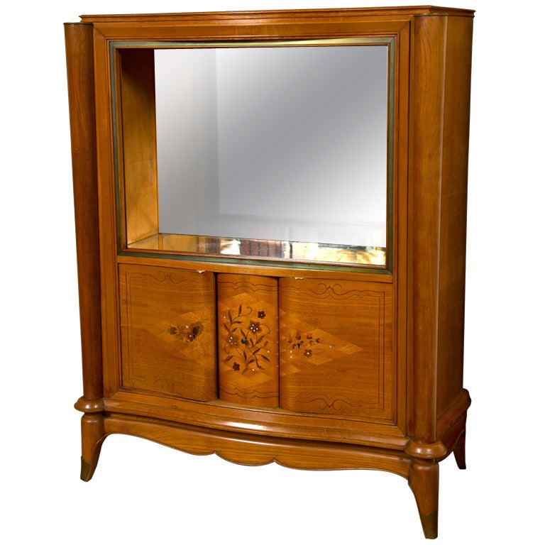 French Jules Leleu Style Satinwood Bar Cabinet For Sale