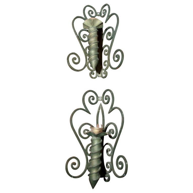 Pair of French Corner Sconces