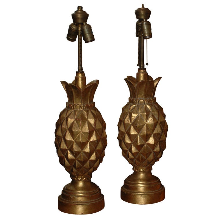 this pair of italian carved wood pineapple table lamps is no longer. Black Bedroom Furniture Sets. Home Design Ideas