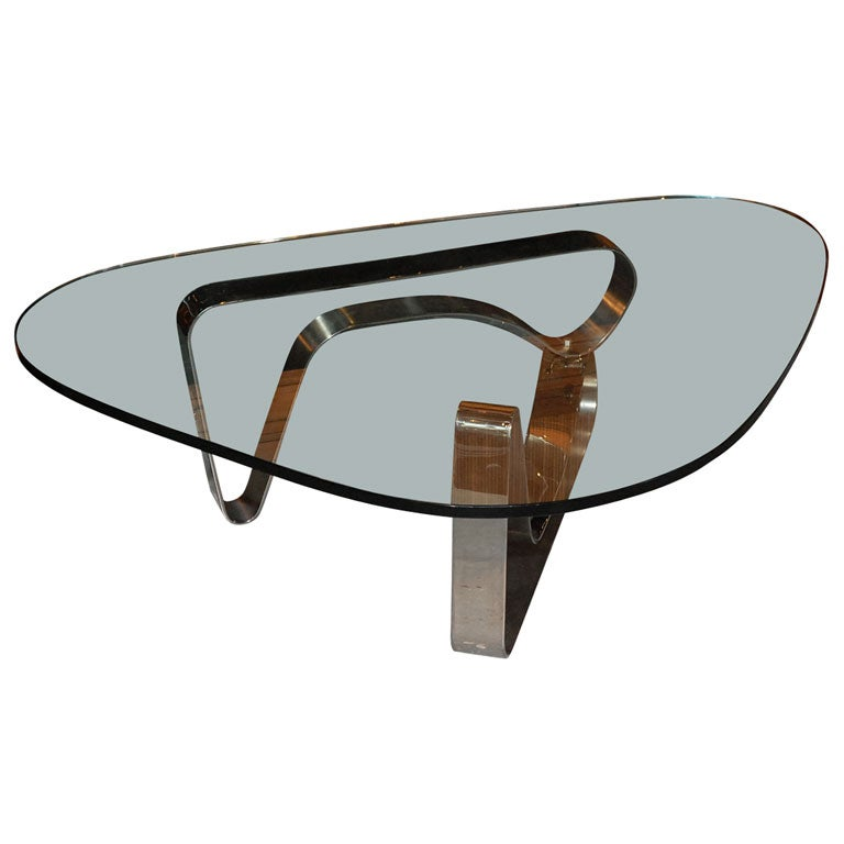 Contemporary glass and chrome coffee table at 1stdibs for Contemporary glass cocktail tables