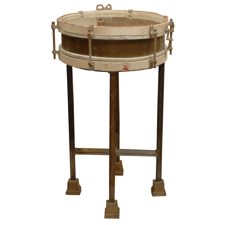 French vintage wooden drum table with custom metal stand for Drum side table