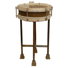 French Vintage Wooden Drum Table with Custom Metal Stand, circa 1940