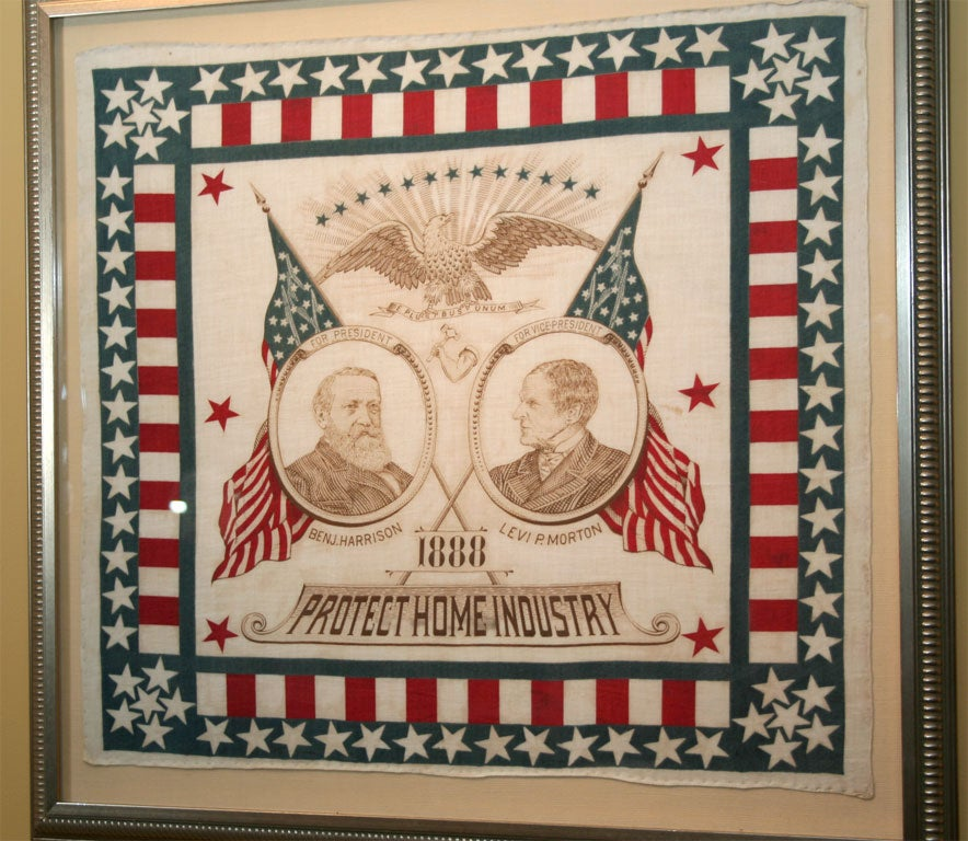 Political campaign bandanna.  Inscribed:  1888 Protect Home Industry with portraits of Benj. Harrison and Levi P. Morton.  Illustrated THREADS OF HISTORY, Smithsonian Institution, Pl.599