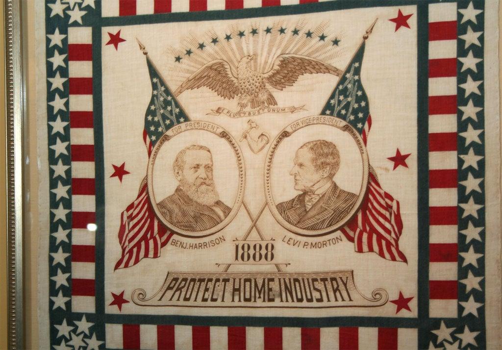 American Campaign Bandanna:  Harrison/Morton1888 For Sale