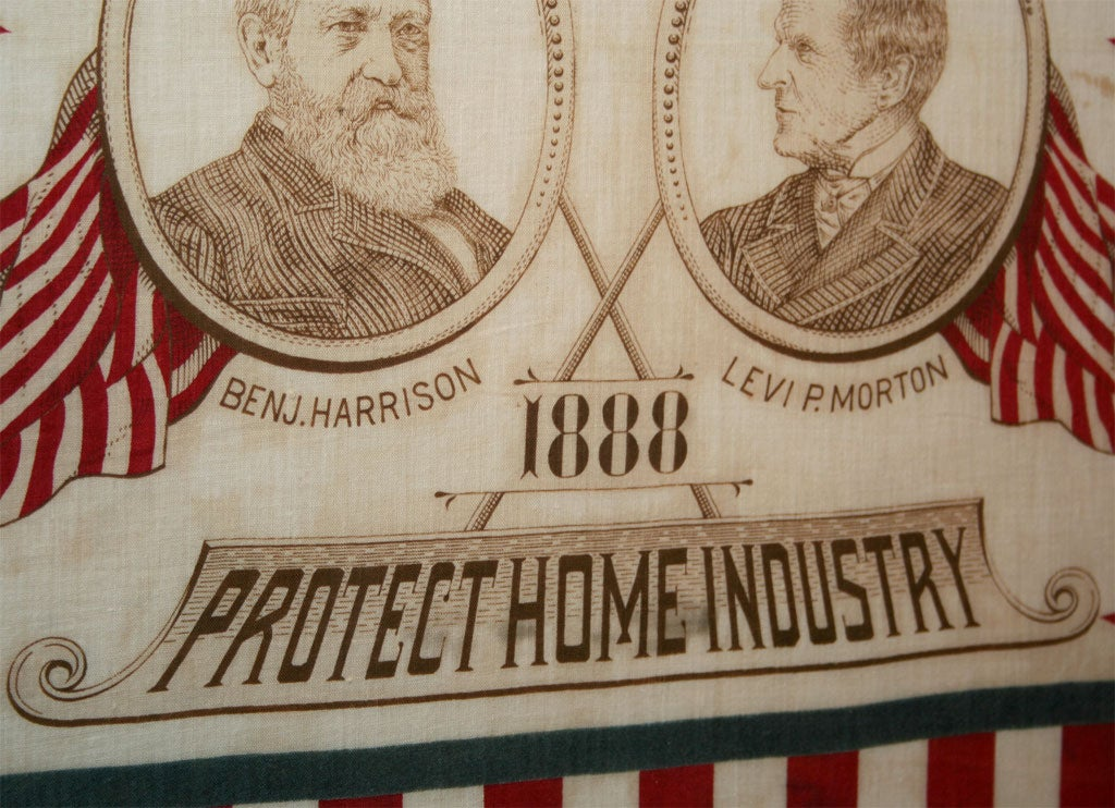 Campaign Bandanna:  Harrison/Morton1888 In Excellent Condition For Sale In New York, NY