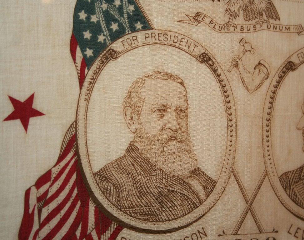 Cotton Campaign Bandanna:  Harrison/Morton1888 For Sale