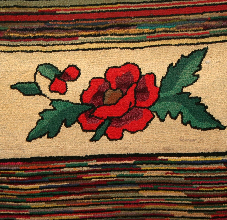 Vintage Mexican Zapotec Rug In Small Size With Stylized: Pictorial Hooked Runner At 1stdibs