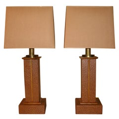 Pair of Mid-Century Faux Ostrich Leather Table Lamps