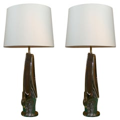 "A Pair of Laurel ""Brutal"" Zinc and Faux Wood Table Lamps"