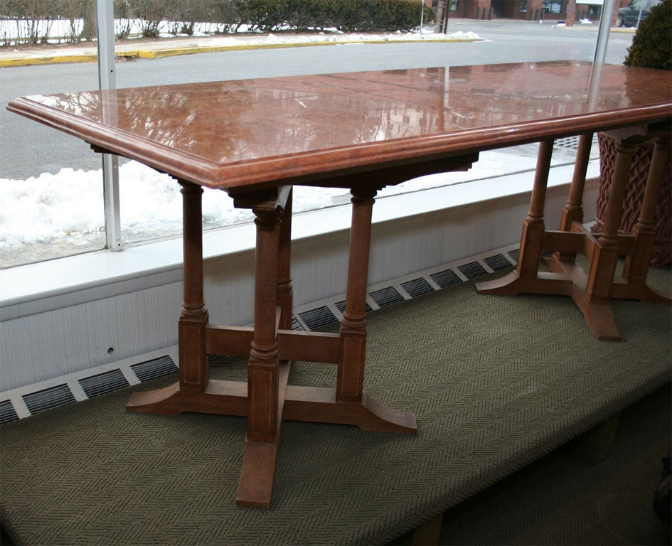 Mid 20th Century Marble Top Dining Table With Gothic Style Wood Base For  Sale
