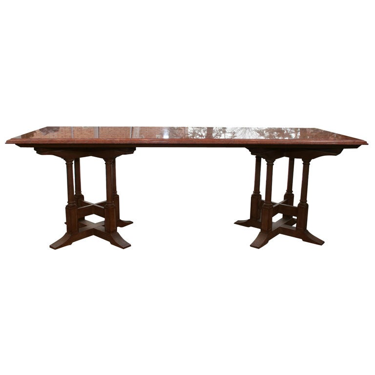 Marble Top Dining Table With Gothic Style Wood Base For