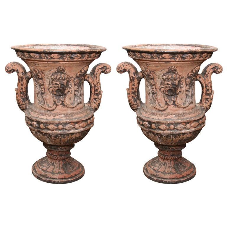 Pair of Italian Terra Cotta Urns