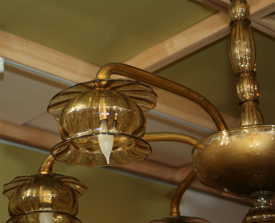 Amber Venetian Glass Chandelier In Excellent Condition For Sale In Mt Kisco, NY