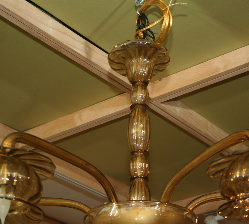 Mid-20th Century Amber Venetian Glass Chandelier For Sale