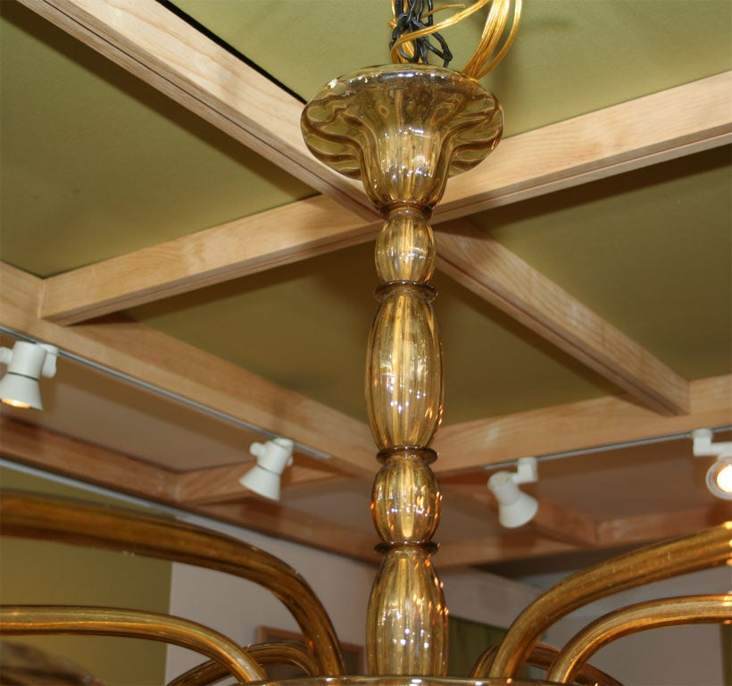 Amber Venetian Glass Chandelier For Sale 2