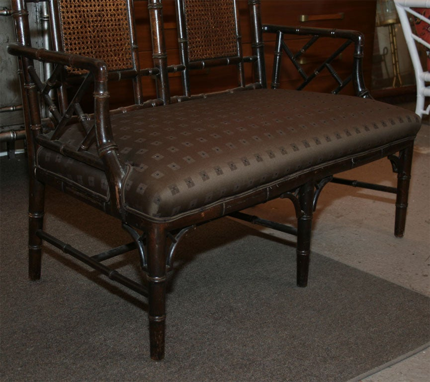 High Back Faux Bamboo Bench Or Love Seat At 1stdibs