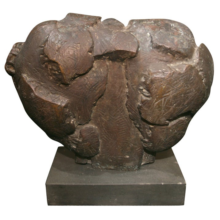 Mid-Century Semi Abstract Bronze Sculpture, Signed Fane