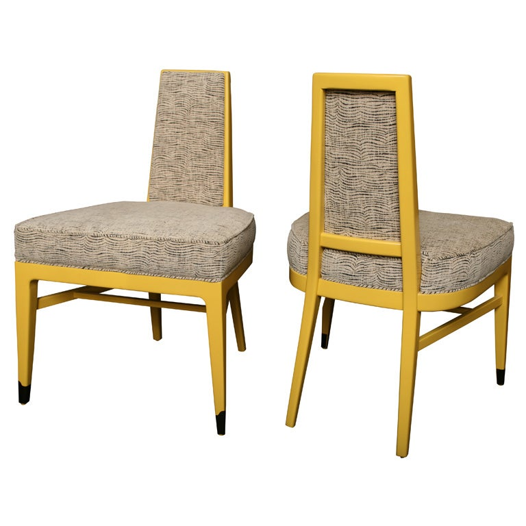 8 Butter Yellow Lacquer Dining Chairs At 1stdibs