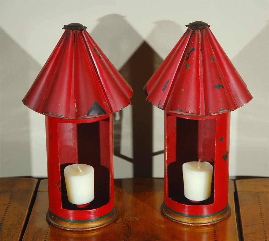 Pair of Vintage Italian Red Tole Lantern Sconces at 1stdibs