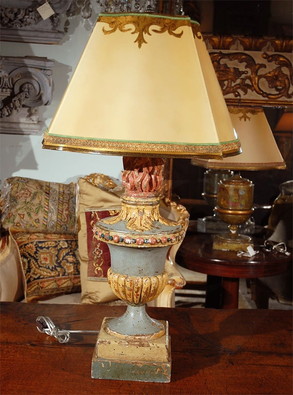 Pair Of Whimsical Painted Flamed Urn Lamps With Shades At