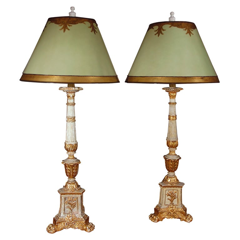 pair of 19th c alterstick lamps with custom lamp shades