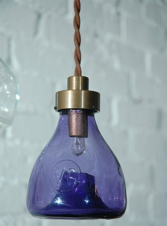 Unique Vintage Glass Fly Trap Pendant 4