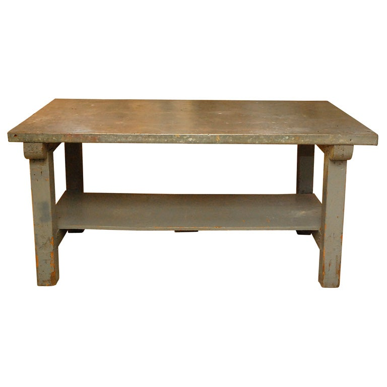 Large 5 12 Industrial Zinc Top Work Table Is No Longer Available