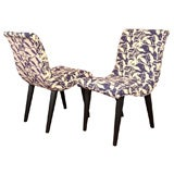 Pair of Russell Wright Modernism Salon Chairs, Paris Fabric, Graceful Restored