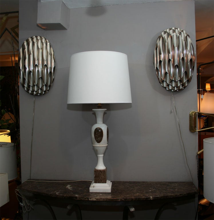 Pair of Mid Century Modern Modern mixed marble Table Lamps Italy 1950's New sockets and rewired Shades not included
