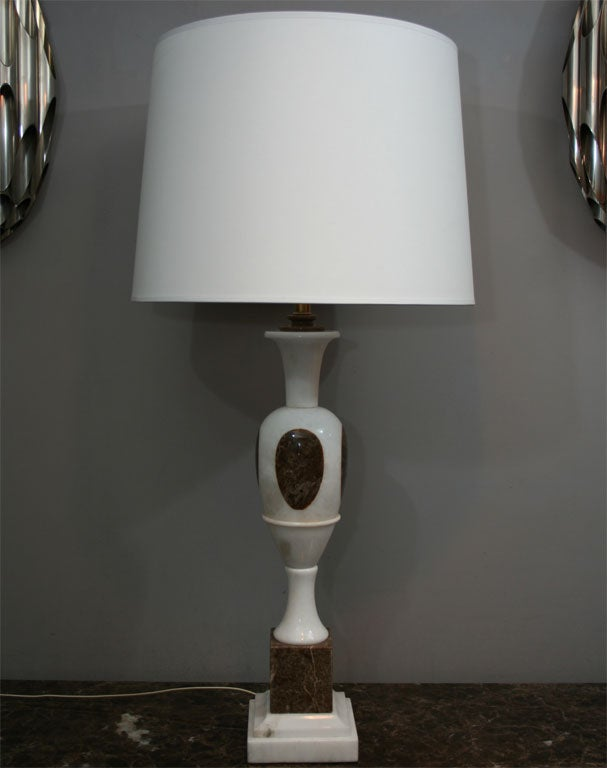 Italian  Table Lamps Pair Mid Century Modern mixed marble Italy 1950's For Sale