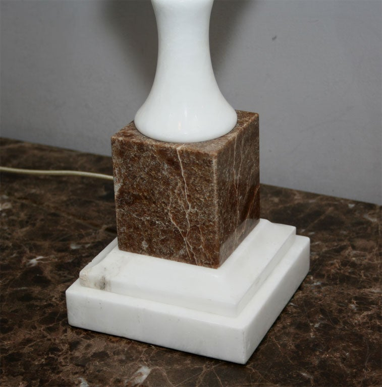 Table Lamps Pair Mid Century Modern mixed marble Italy 1950's In Good Condition For Sale In New York, NY