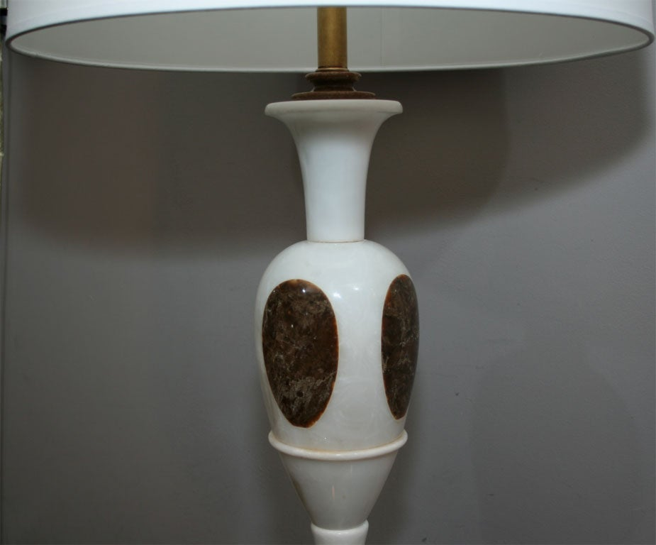 Polished  Table Lamps Pair Mid Century Modern mixed marble Italy 1950's For Sale