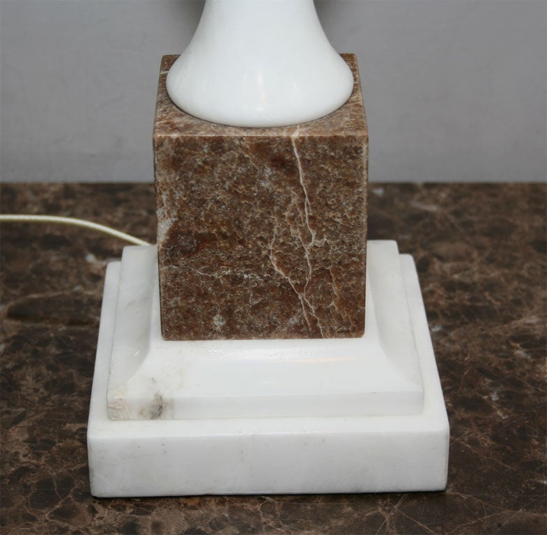 Mid-20th Century  Table Lamps Pair Mid Century Modern mixed marble Italy 1950's For Sale
