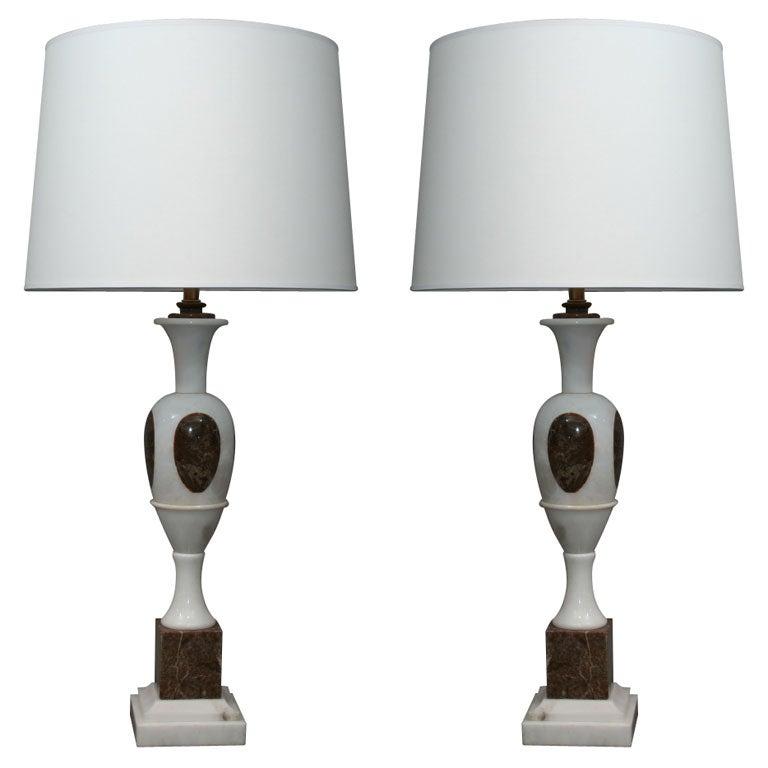 Pair of Classical Modern Marble Table Lamps