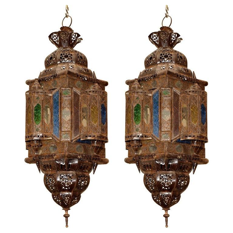 Pair Of Moroccan Pierced Lanterns At 1stdibs