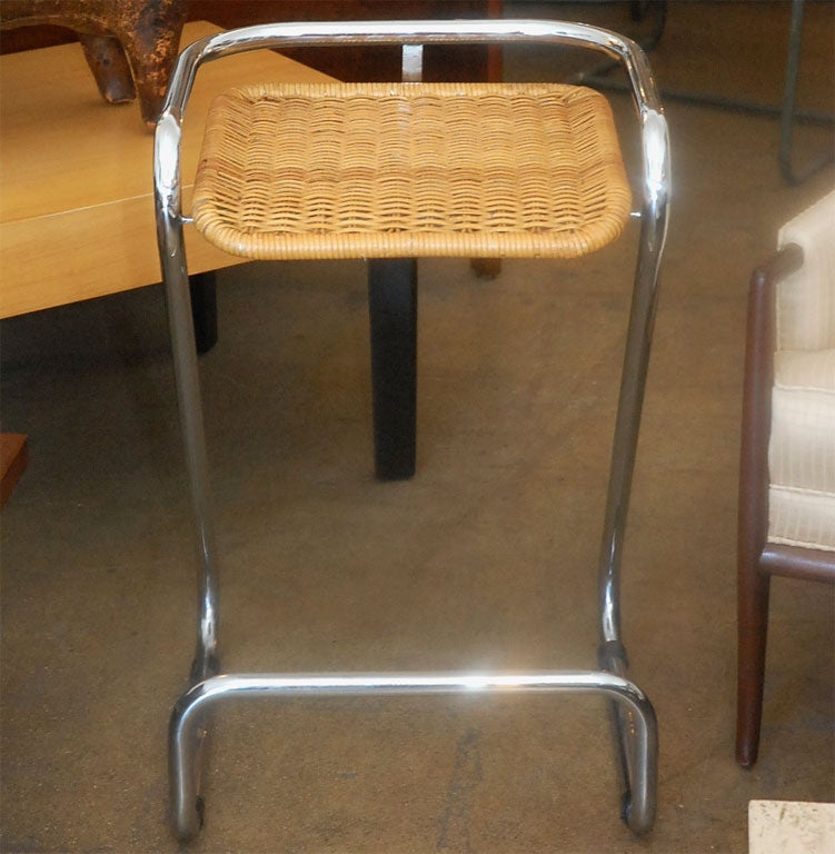 Pair Of Chrome And Wicker Bar Stools At 1stdibs